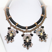 Black Braided Leather Golden Chains and Rhinestones Necklace