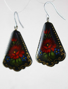 Russian Hand-Painted Black Earrings with Red Flowers EJER5129
