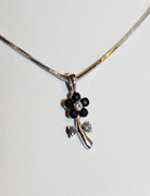 Black Rhinestone Flower Necklace