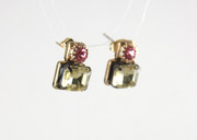 Carolina Bohemian Glass Studs Earrings - Pink Amethyst & Yellow Topaz