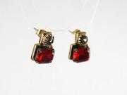 Bohemian Glass Studs Earrings - Ruby & Black Diamond