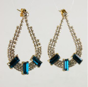 Rhinestone Earrings with Teal Accents