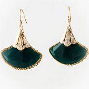 Teal Fans Golden Petal Earrings