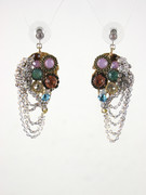 Mosaic Chandelier Chain Drop Earrings with Multi-Color Glass Beads