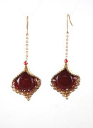 Flamenco Red Glass and Crystals Chain Drop Earrings