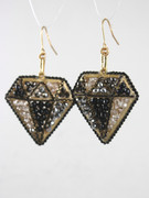 Black Diamond Shape Drop Earrings