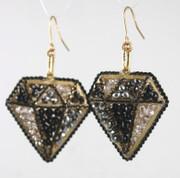 Black Diamond Shape Drop Earrings