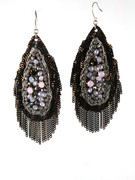 Black Milky Opal Golden Fringe Earrings