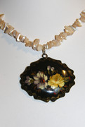 Russian Flowers Hand-Painted Semi-Precious Stone Necklace