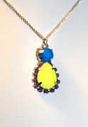 Neon Yellow and Blue Pendant Necklace
