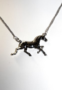 Silver Tone Running Horse Necklace