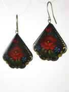 Russian Hand-Painted Black Earrings with Red Flowers