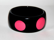 Black Bangle Bracelet with Fuchsia Pink Polka Dots