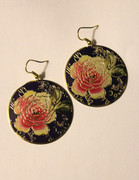 Yellow Blush Rose Earrings with Golden Etching