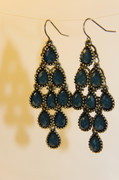 Teal Chandelier Earrings with Multi-Faceted Drops