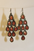 Sienna Orange Chandelier Earrings with Multi-Faceted Drops