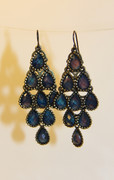 """Northern Light"" Blue Chandelier Earrings with Multi-Faceted Drops"
