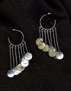 Mother of Pearl Shell Hoop Chandelier Earrings