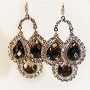 """Grace of Monaco"" Hand Made Rhinestone Champagne Drop Chandelier Earrings"
