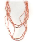 Orange Multi-Row Beaded Necklace.