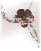Big Bronze Sequined Flower Statement Necklace