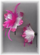 Pink & White Flower Barrette with Feather