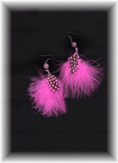 Pink Polka Dot Feather Earrings