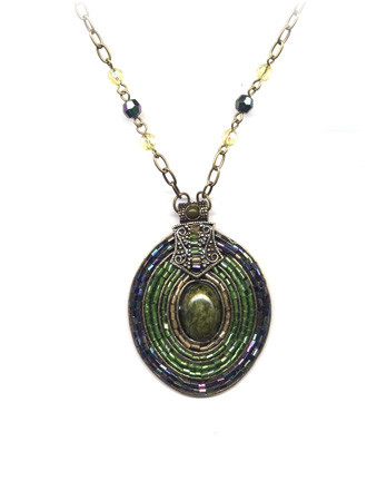 Green Beaded Medallion Necklace