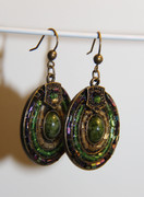 Green Beaded Oval Medallion Earrings