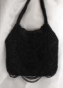 Black Beaded Drape Evening Bag
