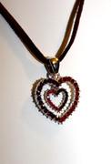 Red Heart-in-Heart Rhinestone Necklace