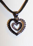 Black Heart-in-Heart Rhinestone Necklace