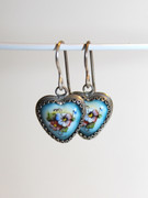 "Russian Finift Hand-Painted ""Flower Heart"" Earrings"