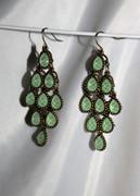 """Mint Jade"" Chandelier Earrings with Multi-Faceted Drops"
