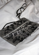Silver Gray Silk Clutch with Contrast Black Design - Beads and Sequins