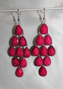 Magenta Pink Chandelier Earrings with Large Faceted Drops