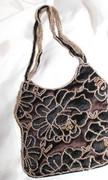 Brown Lace Beaded Handbag
