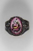 Pink Hand-Painted Enamel Russian Rostov Finift Ring