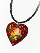 """Pink Rose"" Red Heart Hand-Painted Russian Necklace"
