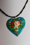 """Pink Rose"" Turquoise Blue Heart Hand-Painted Russian Necklace"