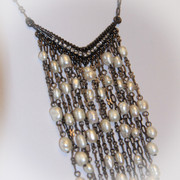 """Angel Falls"" Fresh Water Pearl Necklace with Rhinestones"