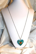 Long Chain Necklace with Blue Hand-Painted Wooden Russian Heart Charm