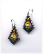 Russian Hand-Painted Yellow Flower Wooden Earrings