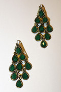 Emerald Green Chandelier Earrings with Multi-Faceted Drops
