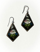 Russian Hand-Painted White Flower Wooden Earrings