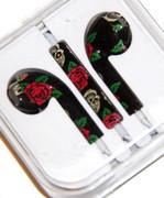 Black Headphones / Earbuds with Red Rose Print