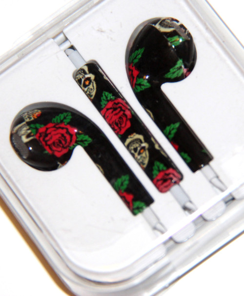 Black Headphones / Earbuds with Red Rose Print