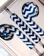 Blue ad White ZigZag Print Headhones