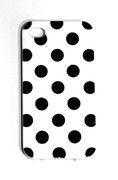 iPhone 4/4S black and white polka dot phone case.