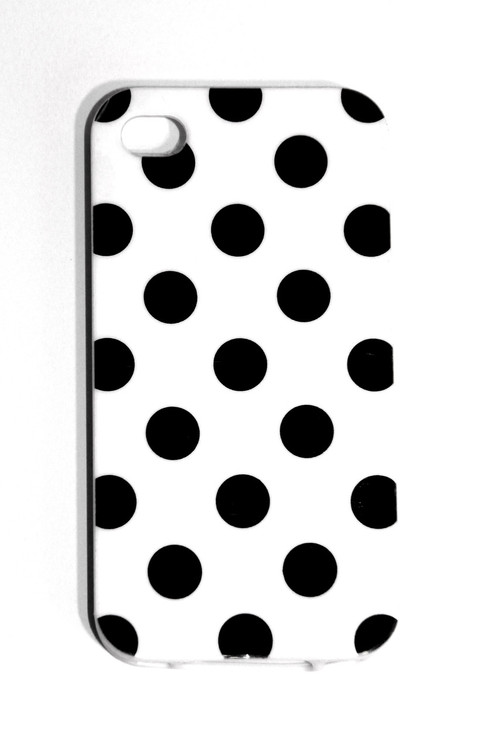 iPhone 4/4S black and white polka dot phone case.